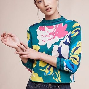 Anthropologie Floral Sweater NEVER WORN